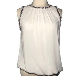 NWT bishop+young beaded embroidered trim tank SM